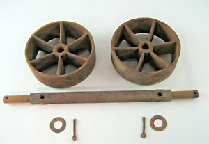 2 Antique Industrial Cart Cast Iron Spoked Wheels 7 7 8 X 2 1 2 W axle