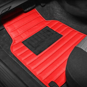 Leather Car Floor Mats Universal For Car Suv Van Stripe Pattern Red