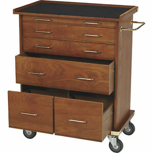 6 drawer Rolling Chest Storage Cabinet Oak Finish 22 75inw X 13 5ind X 28 5inh