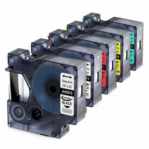 6pk Compatible Dymo D1 45013 45010 Label Tape For Dymo Labelmanager 160 280 420p