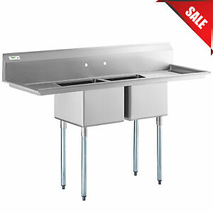 72 2 compartment Stainless Steel Commercial Sink With 2 Drainboards Backsplash