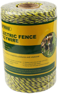 Farmily Portable Electric Fence Polywire 1312 Feet 400 Meter 6 Conductor Yellow