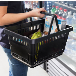 12 Pack Black Plastic Grocery Convenience Store Shopping Baskets Retail Tote New