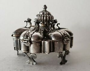 An Indian Mughal Spice Or Cosmetic Silver Box Chaughara Or Masaladan 18 19th C