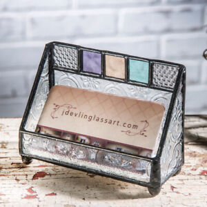 J Devlin Glass Stained Glass Business Card Holder free Shipping New