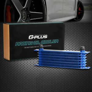 7 Row 10an Full Aluminum Engine Transmission Oil Cooler Powder Coated Blue