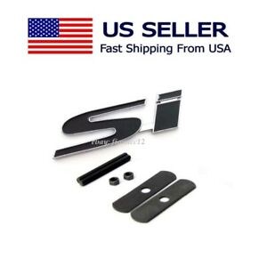 High Quality 3d Si Logo Racing Front Grill Grille Emblem Badge Civic Black
