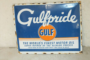 Gulf Gulfpride Oil Vintage Style Porcelain Signs Gas Pump Man Cave Station