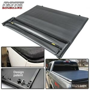 Black Lock 4 Fold Truck Bed Tonneau Cover 5 5ft Bed For Ford F 150 2009 2014