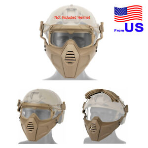 Airsoft Tactical Paintball Half Face Protection Mask and Goggles Set TAN USA $28.79