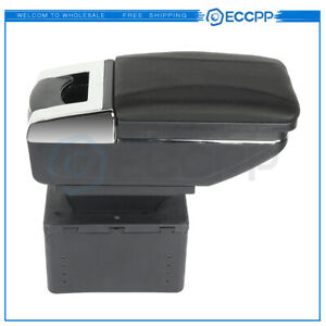 Pu Leather Center Console Armrest Storage Box Black Central Container Universal