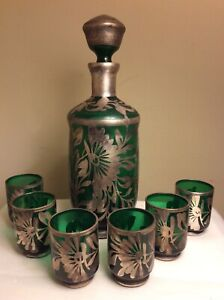 Antique Italian Emerald Green Glass Silver Overlay Decanter 6 Shot Glasses Set
