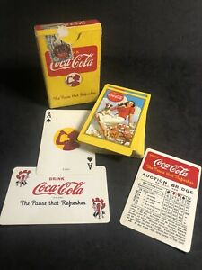 Rare Yellow Coca-Cola Playing Cards Complete Girl and Dog Backs 1940's K27