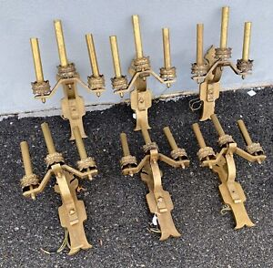 6 Gothic Wall Sconces 1920s Bronze Brass Tudor Rewired Shipping Available