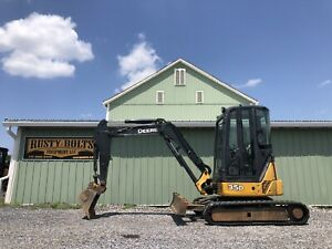 2014 John Deere 35d Mini Excavator Enclosed Heat Ac Diesel Low Cost Shipping
