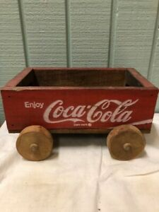 Vintage Coca -Cola Miniature Wagon Red Wood Crate  10x6 Wooden Coke Rolling Cady
