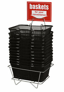 Black Metal Shopping Baskets With Stand Set Of 12