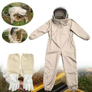 Full Body Anti bee Suit Beekeeping Hood Coat Protective Space Suit gloves Hat L