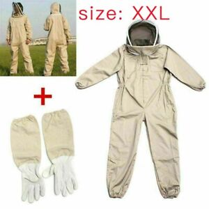 Full Body Anti bee Suit Beekeeping Clothe Cotton Veil Hood Protective gloves Xxl