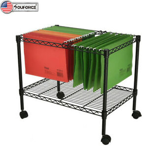 Us 24 Single Tier Metal Rolling Mobile File Cart Office Paper Holder Organizer