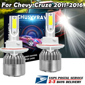 2x H13 9008 Led Headlight Bulbs High low Beam C6 6000k For Chevy Cruze 2011 2016