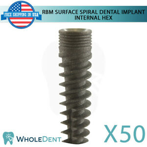 50x Dental Implant Spiral Internal Hex System Titanium Sterile Rbm Surface