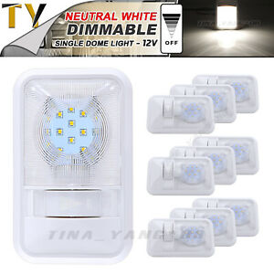 10x Rv Interior 24 Led Neutral White Single Dome Ceiling Light Jeep 12v Dimmable