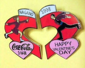 Coca cola Pin badge Nagano limited olympic 2-14-98 happy valentine's day 1998