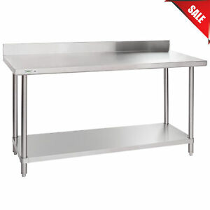 24 X 60 16 Gauge All Stainless Steel Commercial Work Table 4 Backsplash Stand