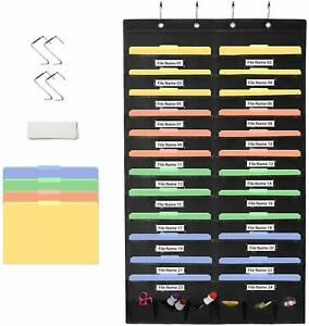 Hanging File Organizer Folder Holder 24 Pockets Office Wall Storage Document New