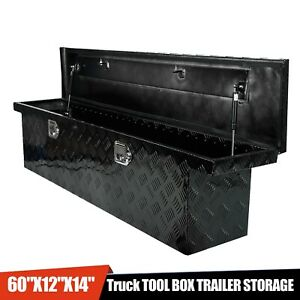 60 x12 x14 Black Aluminum Pickup Truck Trunk Bed Tool Box Trailer Storage lock