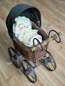 Vintage Baby Doll Stroller Buggy Carriage Wicker W Metal Wheels 15 X 12 X 7