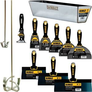 Dewalt Hand Tool Set Premium Carbon blue Steel Taping Putty Knives Mixers Pan