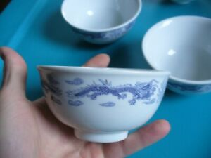 4 Chinese Porcelain Bowl Blue And White Dragon Rice Bowls Fast Shipping