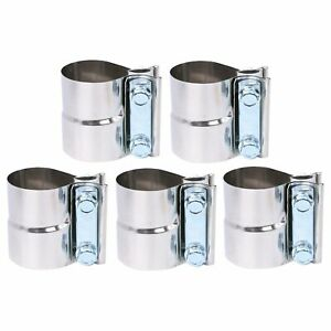 5pc 4 Stainless Exhaust Band Step Clamps For Catback Muffler Downpipe T304