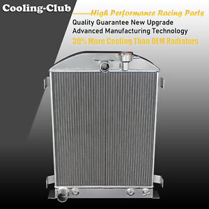 Fit 1932 Ford Hi boy Grill Shells Ford Engine Only 3 Row Aluminum Radiator