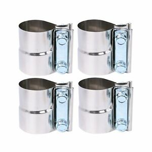 4pcs For Catback Muffler Downpipe 4 Stainless Exhaust Band Clamp Step Clamps