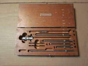 Vintage Starrett N0 124 Solid Rod Inside Micrometer Set Wood Box With 6 Tips