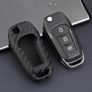 Carbon Fiber Car Key Case Holder Cover Accessories For 2016 2018 Ford Explorer