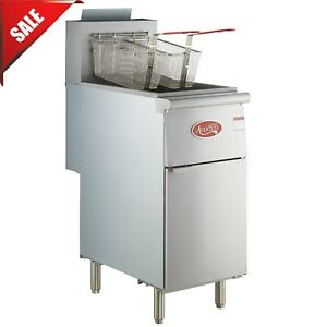 40 Lb Natural Gas Commercial Restaurant Stainless Steel Floor Deep Fryer 3 Tube
