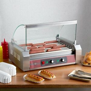 Commercial Hot Dog Grill 24 Hotdog 9 Roller Cooker Machine With Cover Electric