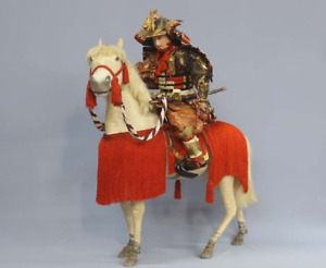 Japanese Antique Armed Samurai Warrior Yoshiie Extra Large 28 Horse Riding Doll