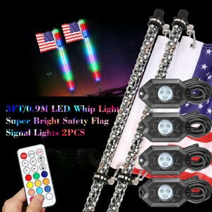 2x 3ft Lighted Spiral Led Whip Antenna W Flag Remote Rgb Rock Lights 4 Pods