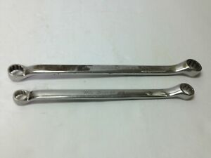 Snap On 2pc Sae Double Box End Offset Wrench 7 16 To 5 8 Xb1416a Xb1820a