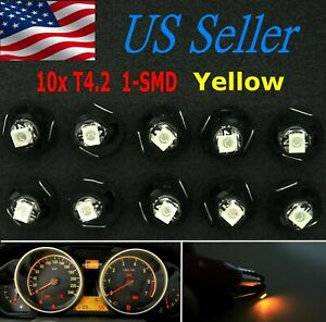 10x Yellow T4 t4 2 Neo Wedge Led Cluster Instrument Dash Climate Base Light Bulb