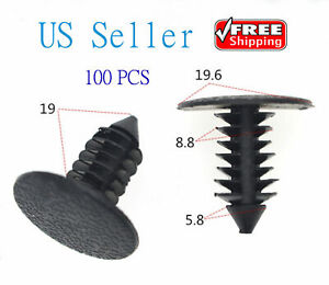 100x 8 8mm Hole Dia Plastic Rivets Fastener Push Clips Black For Car Auto Fender