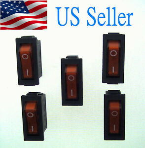 5x Ac250v 15a 125v20a Red Light Illuminated On off 2position Rocker Switch 3 Pin