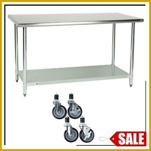 30 X 60 Stainless Steel Work Table Kitchen Prep Commercial W 4 Caster Wheels