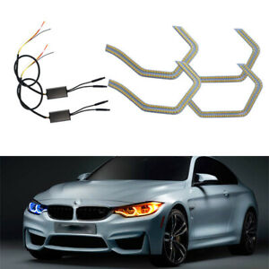 2x Concept M4 Iconic Style Switchback Led Angel Eye Kit W relay Wirings For Bmw