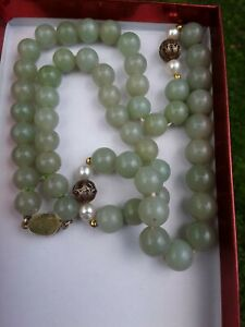Antique Vintage Chinese Celadon Jade Sterling Silver Pearl Accent Necklace As Is